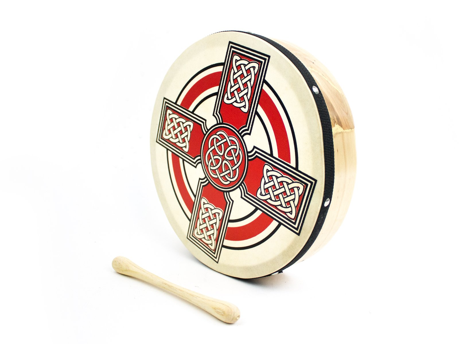 ProKussion Red Celtic Cross Design 10'' Diameter Irish Bodhran and Beater