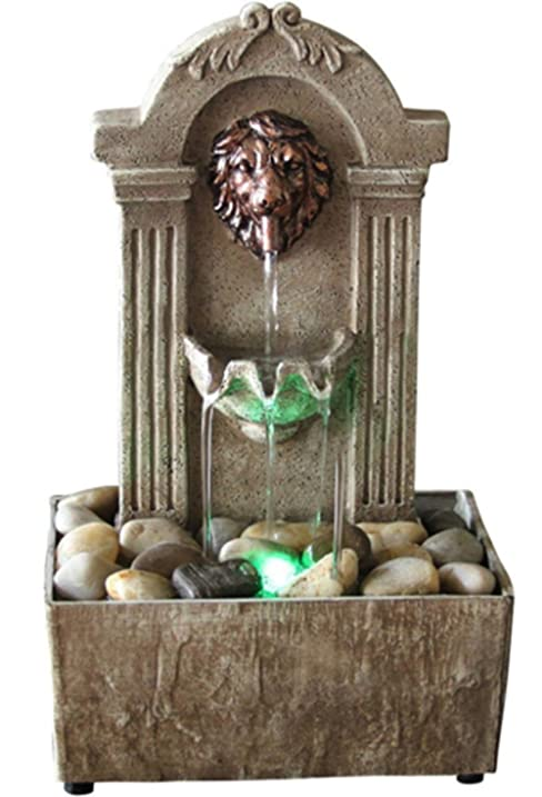 Led Rustic Lion Indoor Water Fountain Tabletop Waterfall Relaxation  Cascading