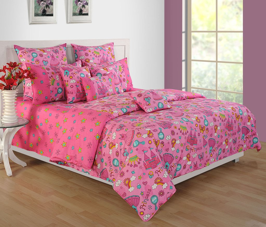 Yuga Décor Printed Pink Little Angels Kids Cotton King Size Decorative Duvet Cover Bed Set 90 X 108 Inches