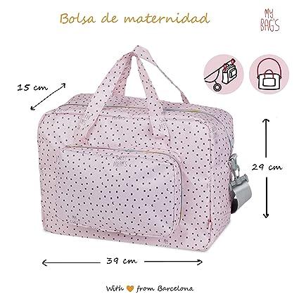 My Bags Bolso Maternidad Acoplable en Silla de Paseo Color Rosa con Estampado Lunitas, Topitos y Estrellas