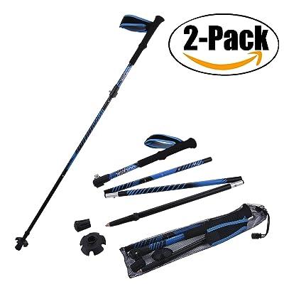 2 bâtons de randonnée antichoc de paire, Outgeek Trekking pôles/Walking Poles avec EVA Foam Handle(Blue)