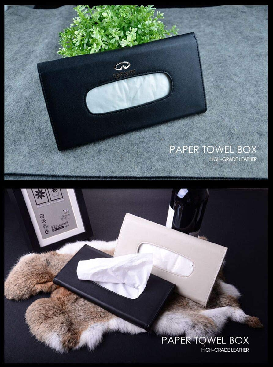 Black for Audi Logo Car PU Leather Tissue Case Napkin Holder for Visor /& Backseat,for Audi