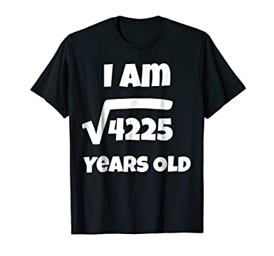 Mens 65 Year Old 65th Birthday Gift Idea Square Root Of 4225 Tee 2XL Black