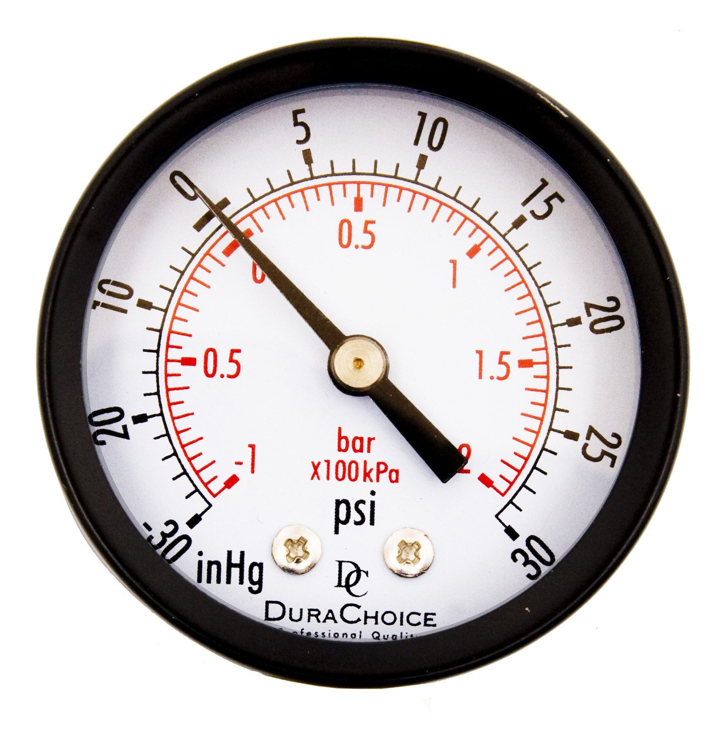 DuraChoice 2 Dial Utility Vacuum Pressure Gauge for Air Compressor Water Oil Gas 1 4 NPT Center Back Mount Black Steel Case 30HG 30PSI