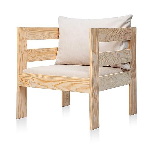 SUENOSZZZ - Sofa Jardin de Madera de Pino Color Natural, MEDITERRANEO Mod. sillón, Sillon cojín Tela Color Beige. Muebles Jardin Exterior. Silla para ...