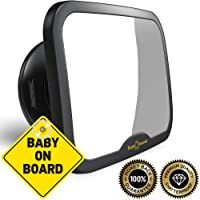 ROYAL RASCALS Baby Car Mirror for Back Seat - Updated Premium Model - Black Frame – Safest Shatterproof Baby Mirror for Car - Rear View Baby Car Seat Mirror to See Rear Facing Infants and Babies
