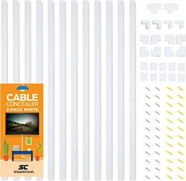Cable Concealer Wall Cord Cover Complete Raceway Kit Hide Simple Management