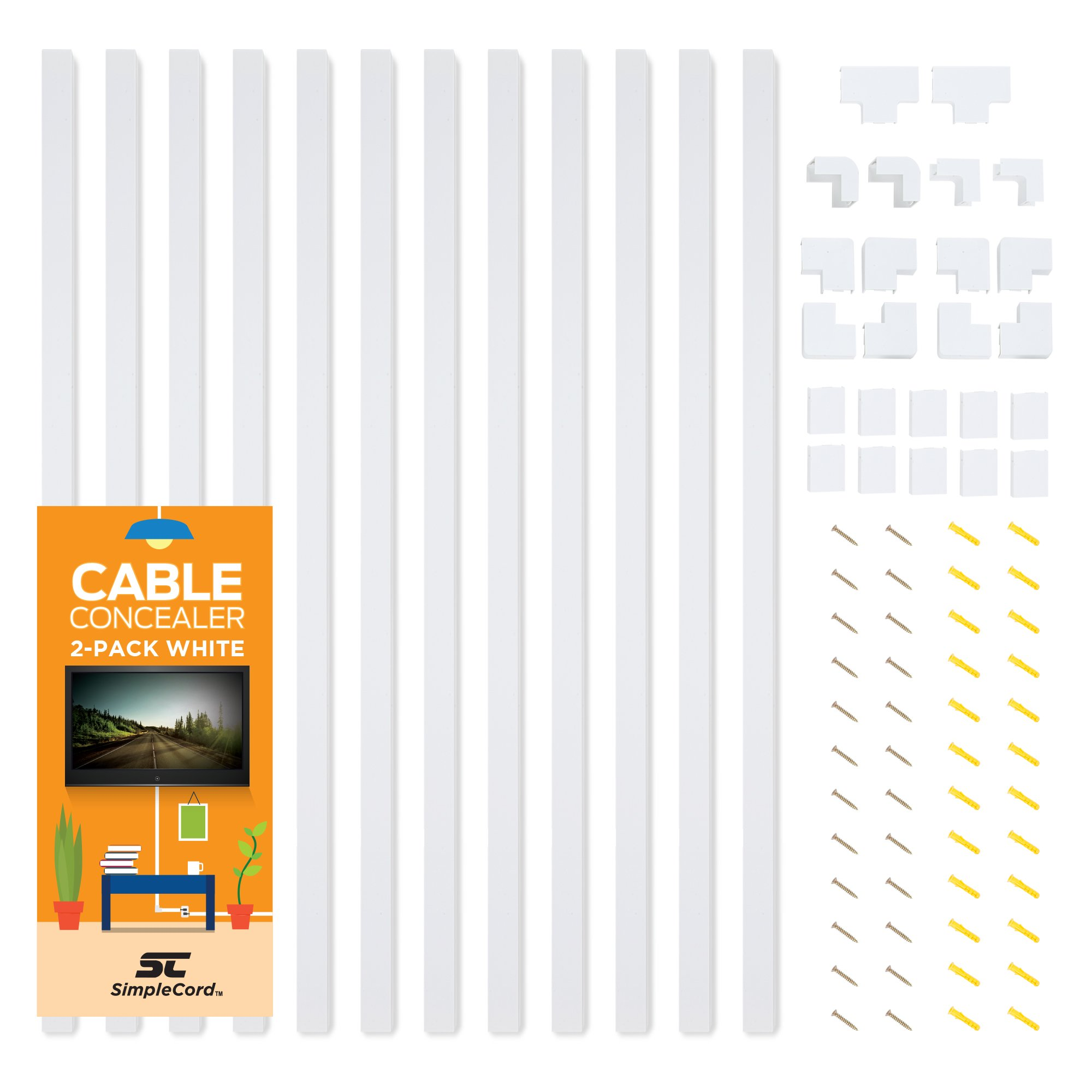Cable Concealer On-Wall Cord Cover Raceway Kit - 12 White Cable Covers - Cable Management System to Hide Cables, Cords Wires - Organize Cables to TVs Computers at Home in The Office