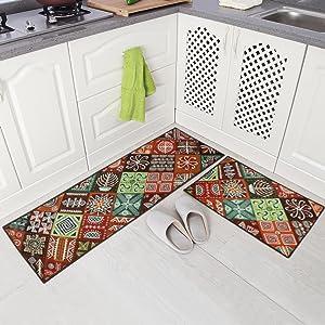 Carvapet 2 Piece Non-Slip Kitchen Mat Runner Rug Set Doormat Vintage Design Baroque Style (20