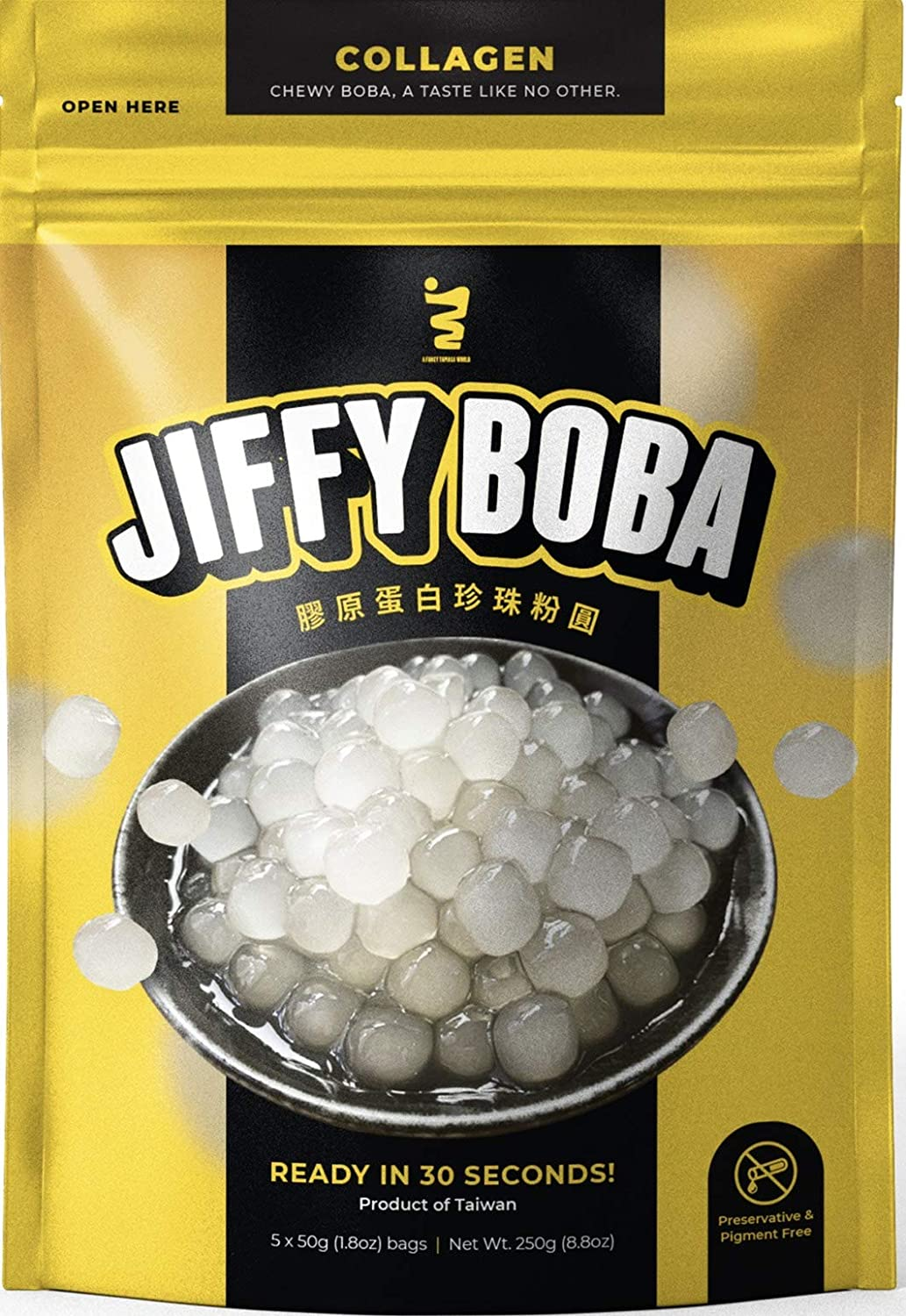 Oceana Jiffy Boba - Instant Collagen Tapioca Pearls (Ready in 30 Seconds) - Chewy Boba Pearls for Bubble Tea, Lightly Sweetened Flavor - Preservative & Food Colours Free - 5 Servings