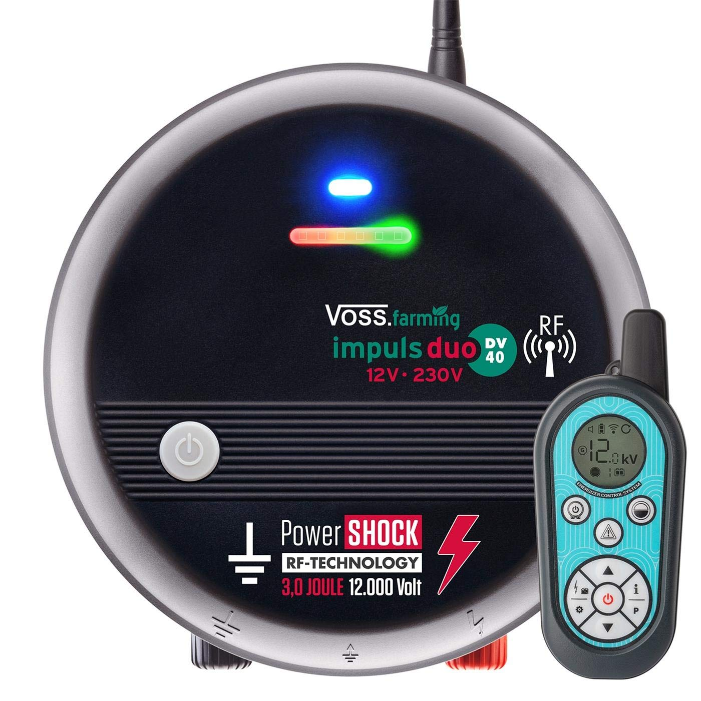VOSS.farming Electric Fence Energiser DUO DV40 RF   12V Battery Mains Radio Remote Controlled Fencer I 3 J, 12000 V   Range  10 km   Powers up to 9 Nettings   Made in EU