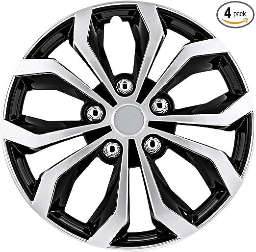 "Set of 4 Cadillac 16/"" Spyder Snap//Clip-on Wheel Cover Hubcap Case Silver//Black"