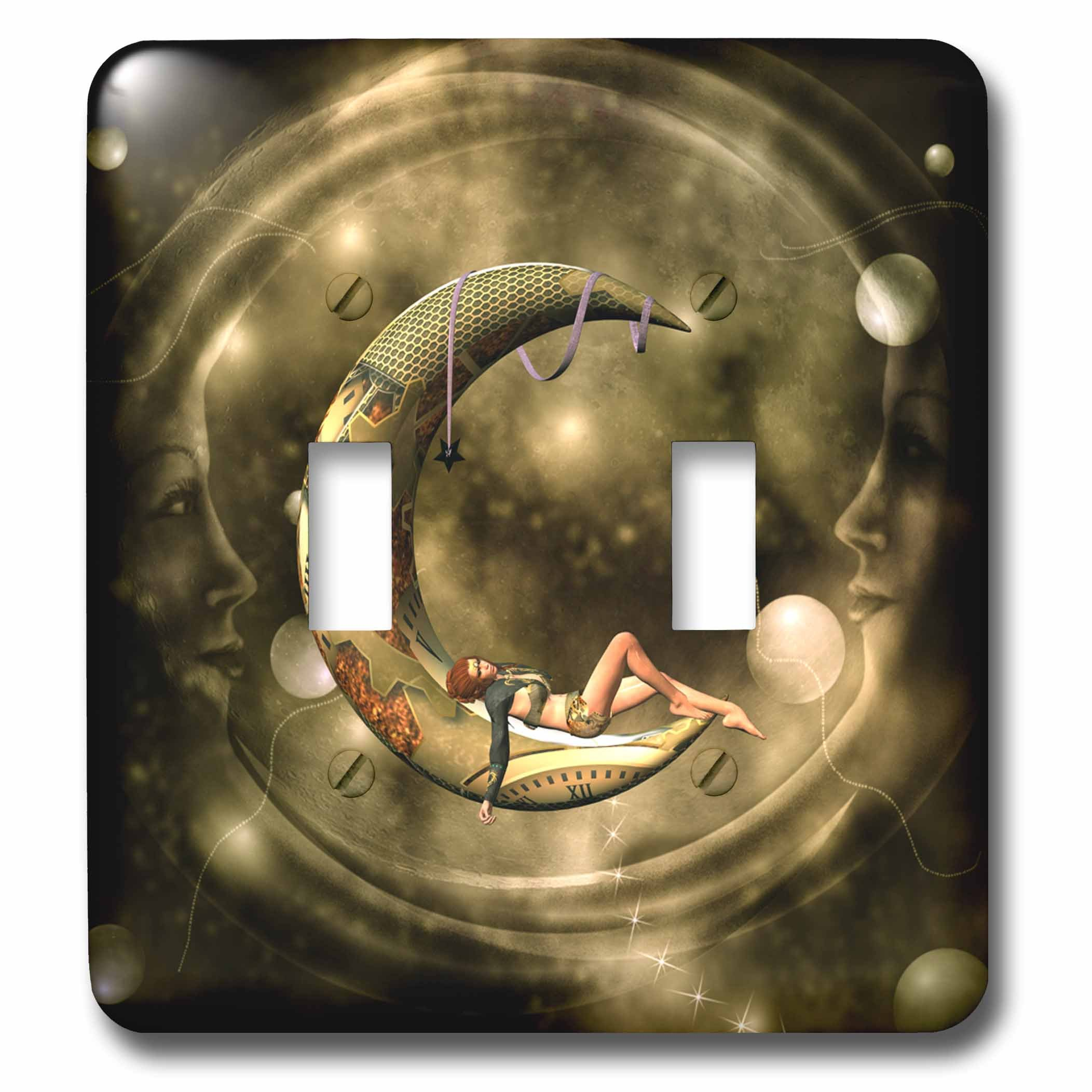 3dRose lsp_262353_2 Steampunk Lady on the Moon Toggle Switch, Multicolor