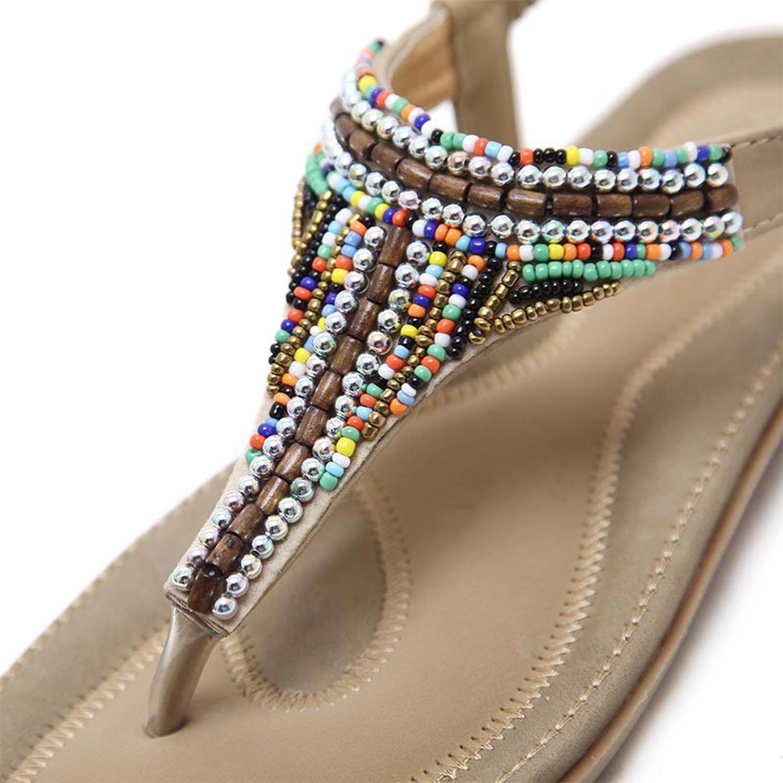 Summerdress Sandals Bead Bohemian Comfortable Shoes Boho Back Apricot Strap Flat Beach Shoes