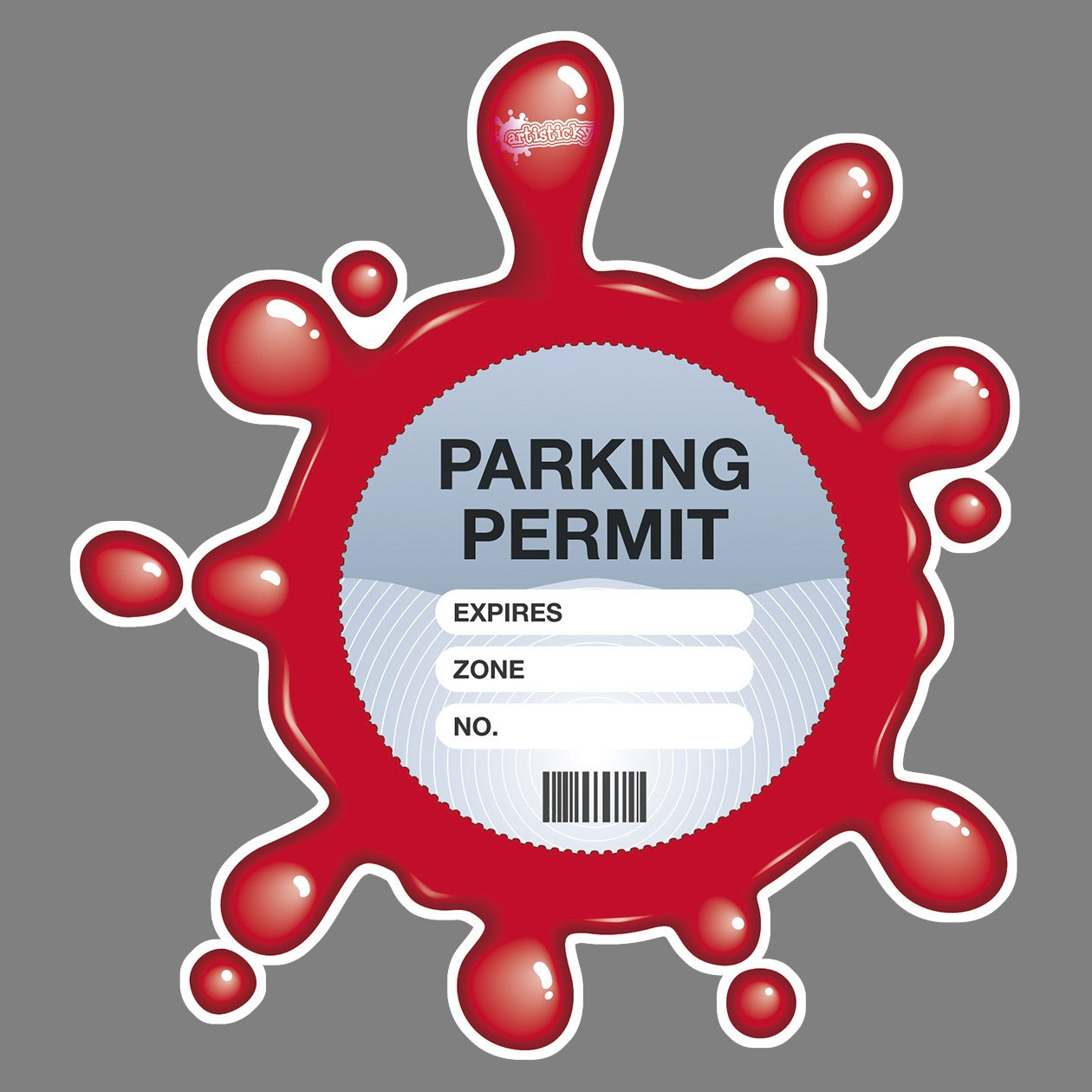 PARKING PERMIT Holder Skin RED SPLAT - FREE POSTAGE Artisticky AS-0003