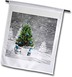 3dRose Doreen Erhardt Christmas Collection - Barn Wood Gray Scale Winter Scene with Blue Trimmed Christmas Tree - 12 x 18 inch Garden Flag (fl_322551_1)