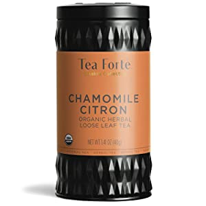 Tea Forte Organic Herbal Tea, Makes 35-50 Cups, 1.41 Ounce Loose Leaf Tea Canister, Chamomile Citron