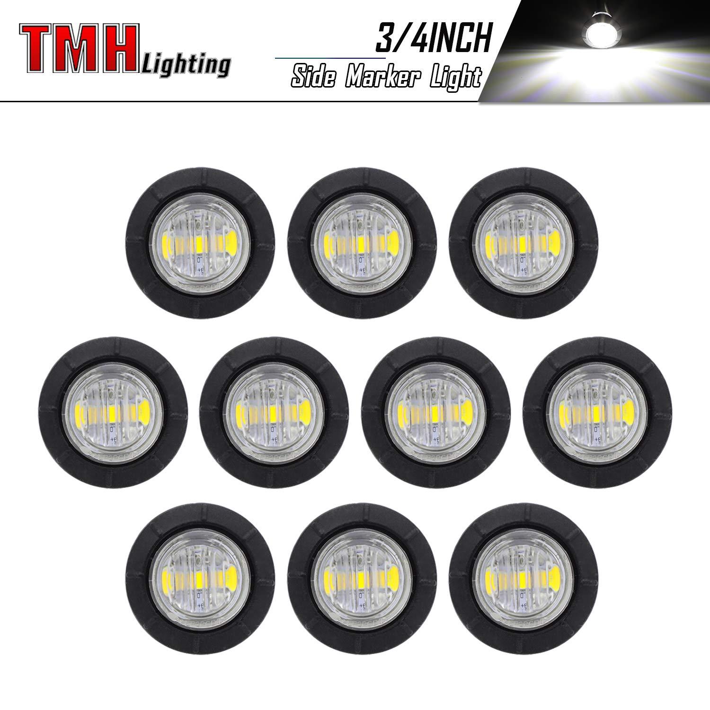 2 White Clearance Marker FLush Mount 3//4 LED Lights