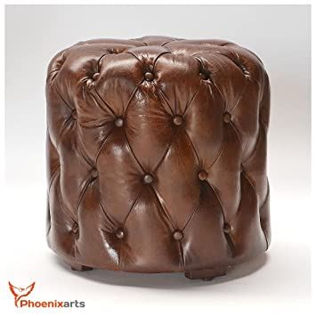 Pouf Leder chesterfield leather ottoman stool vintage leather footstool