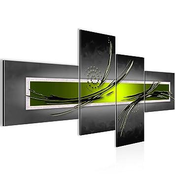 Bilder Abstrakt Wandbild 200 x 100 cm Vlies - Leinwand Bild XXL Format  Wandbilder Wohnzimmer Wohnung Deko Kunstdrucke Grün Grau 4 Teilig - MADE IN  ...