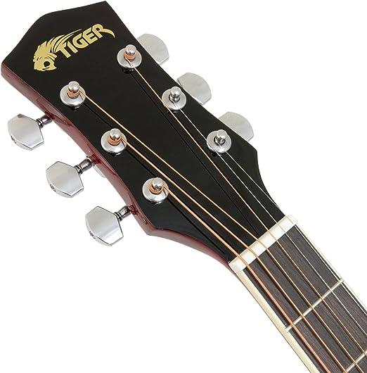 Tiger - Guitarra electroacústica con accesorios, color rojo: Amazon.es: Instrumentos musicales
