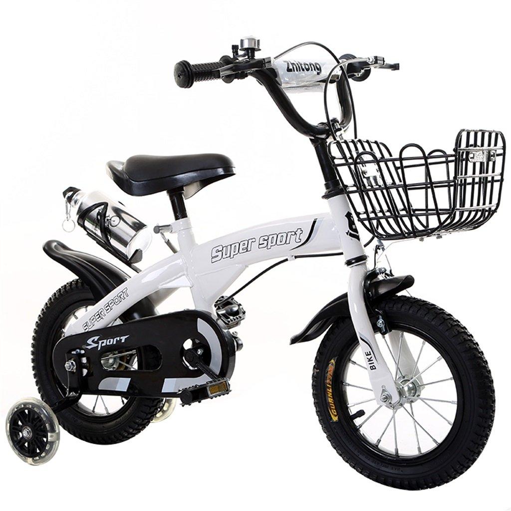 KANGR-子ども用自転車 子供用自転車アウトドアマウンテンバイク2-3-6-8ボーイズとガールズ子供用おもちゃ調節可能ハンドルバー/フラッシュトレーニングホイール付きサドルウォーターボトルとホルダー-12 / 14/16/18インチ ( 色 : 白 , サイズ さいず : 14 inch ) B07BTY5Y6W 14 inch 白 白 14 inch