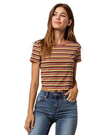 31667b998ee33 GOOD LUCK GEM Ribbed Lettuce Edge Navy Crop Tee at Amazon Women s Clothing  store