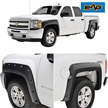 Fits 07-14 Chevy Silverado Pocket Rivet Style Fender Flares ABS Textured