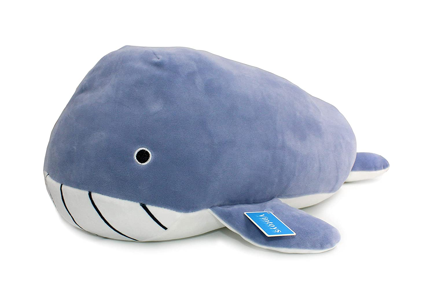 Vintoys Very Soft Blue Whale Shark Hugging Pillow Plush Doll Fish Plush Toy Stuffed Animals 21""
