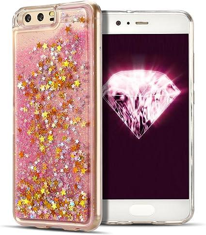 SpiritSun Coque Huawei P10 Liquide, Bling Souple Silicone Gel Etui Coque de Protection Glitter Liquide Sables Mouvant Etui en Cœur Paillettes Ultra ...