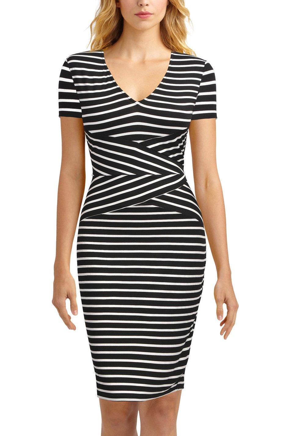 Mmondschein Women Short Sleeve Striped Wear to Work Business Pencil Dress L Black