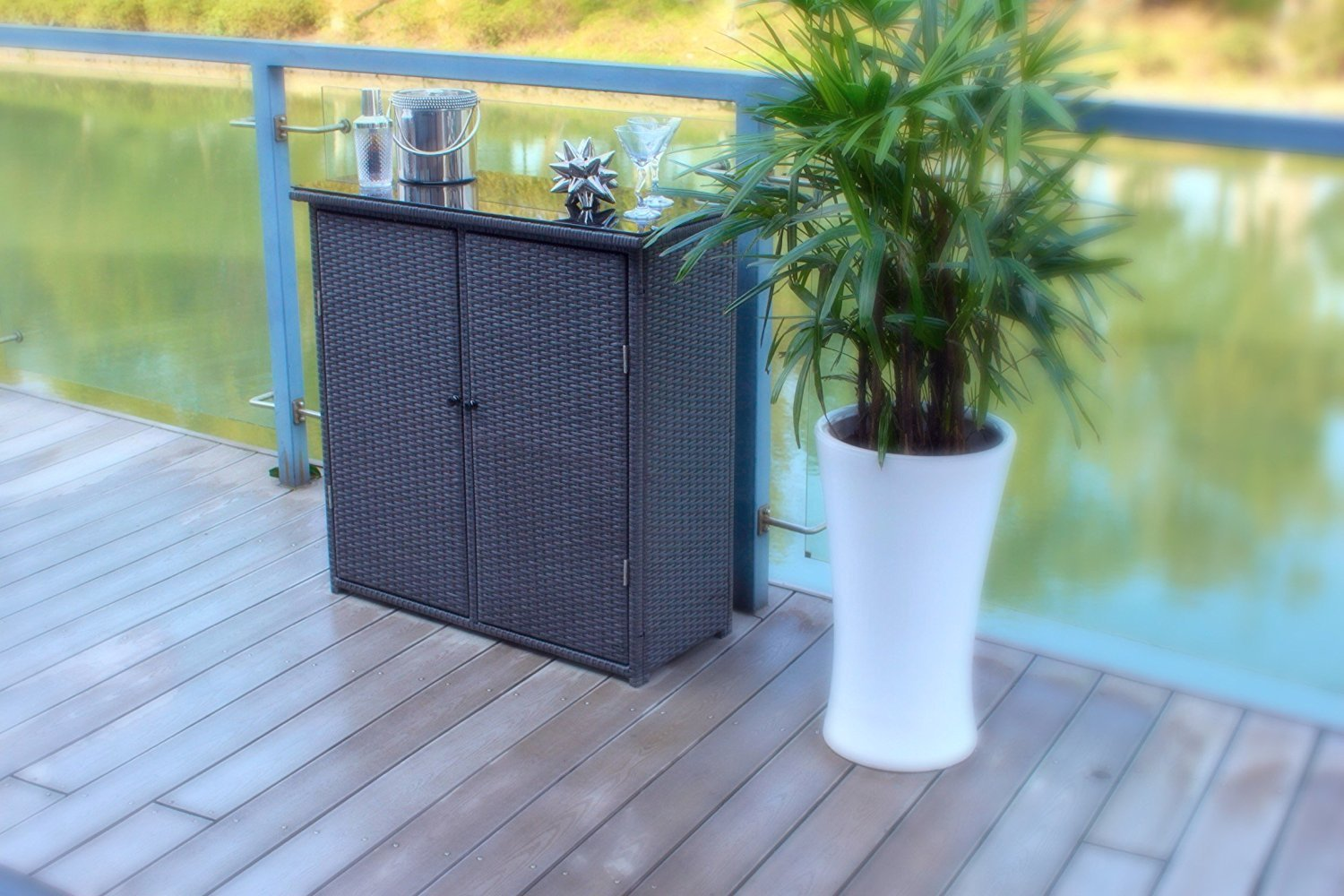 Pebble Lane Living Outdoor Hand Woven UV Resin Wicker and Powder-Coated Aluminum Serving Bar/Buffet Table Unit with Tempered Glass Top - Black