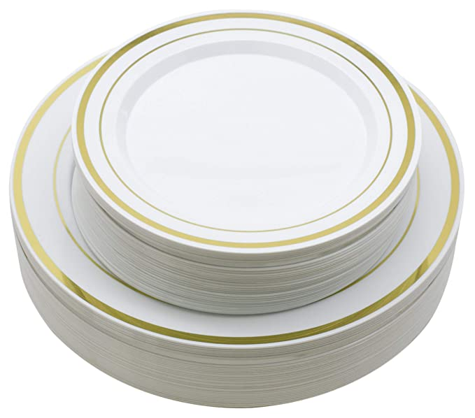 "60 Pieces Gold Plastic Plates, Plastic Dinnerware Set, Premium Heavy Duty Gold Disposable Plastic Plates, 30 Premium Heavy Duty 10.25"" Dinner Plates and 30 Disposable 7.5"" Dessert Appetizer Plates"