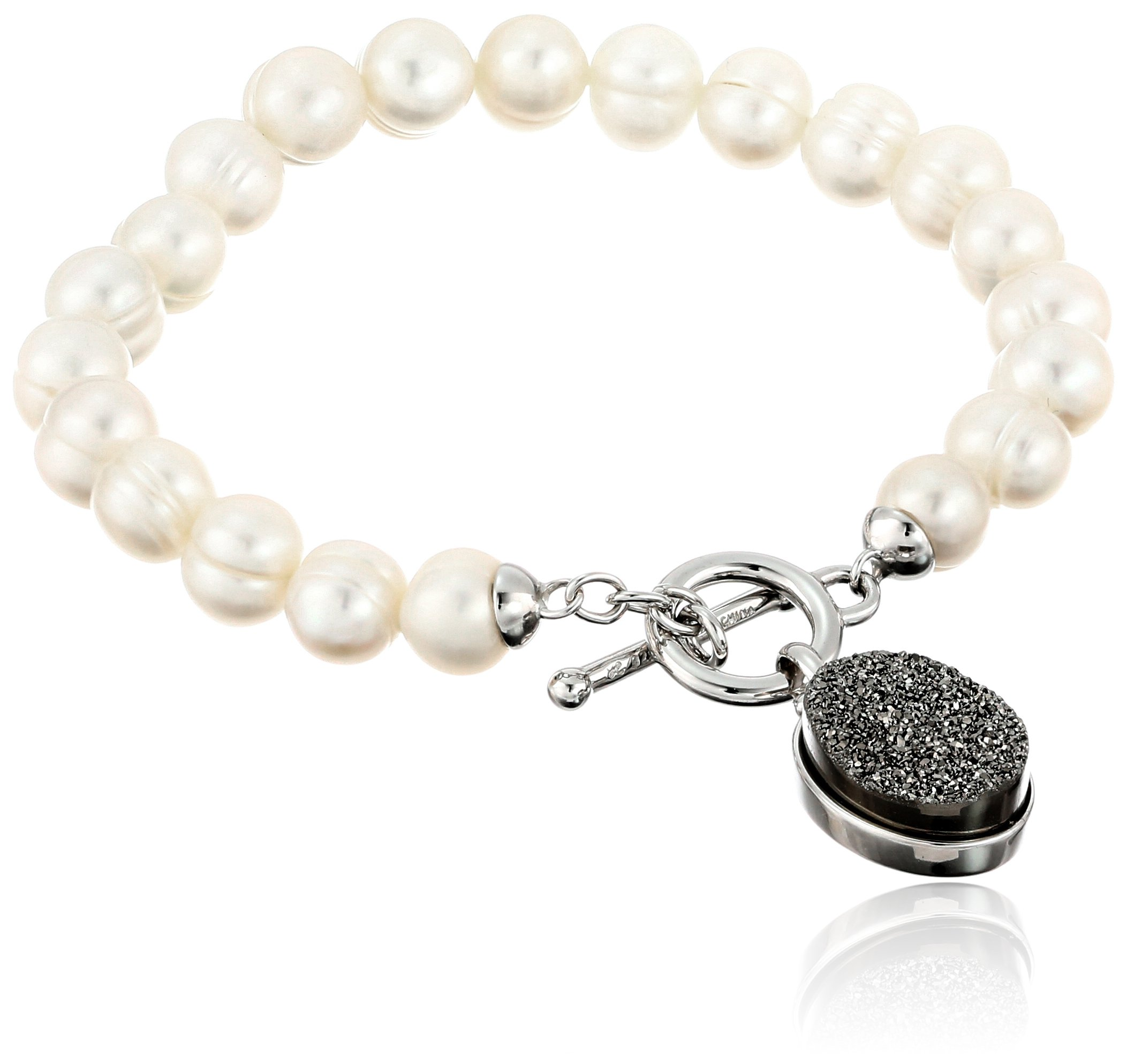 Honora ''Rock Star'' White Freshwater Cultured Pearl and Silver Agate Drusy 7.5'' Toggle Strand Bracelet
