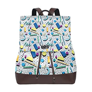 Amazoncom Leather Fashion 80s Or 90s Background Pattern Backpack
