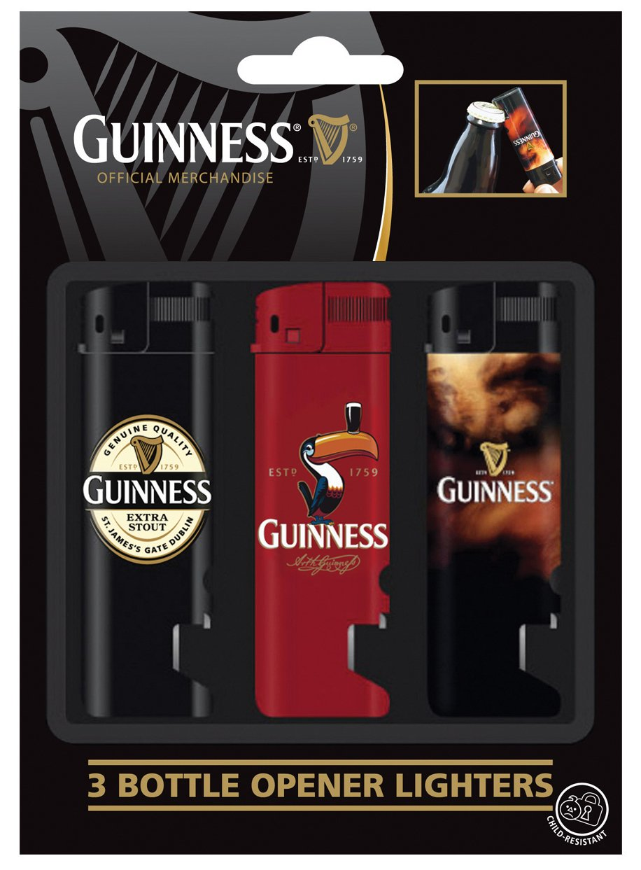 3 Pack Guinness Electronic Lighter And Bot. Opener; Lapel, Red Toucan And Smoke