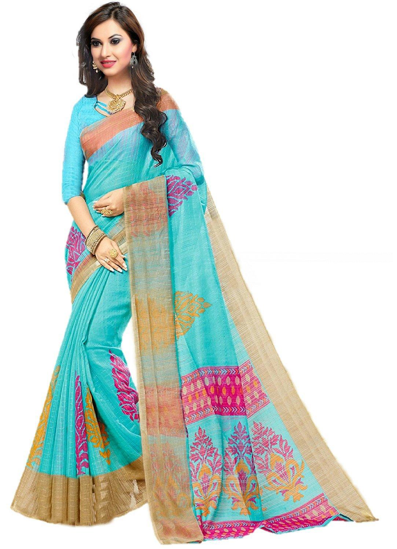 Jaanvi fashion Designer Light Blue Kora Silk Printed Saree