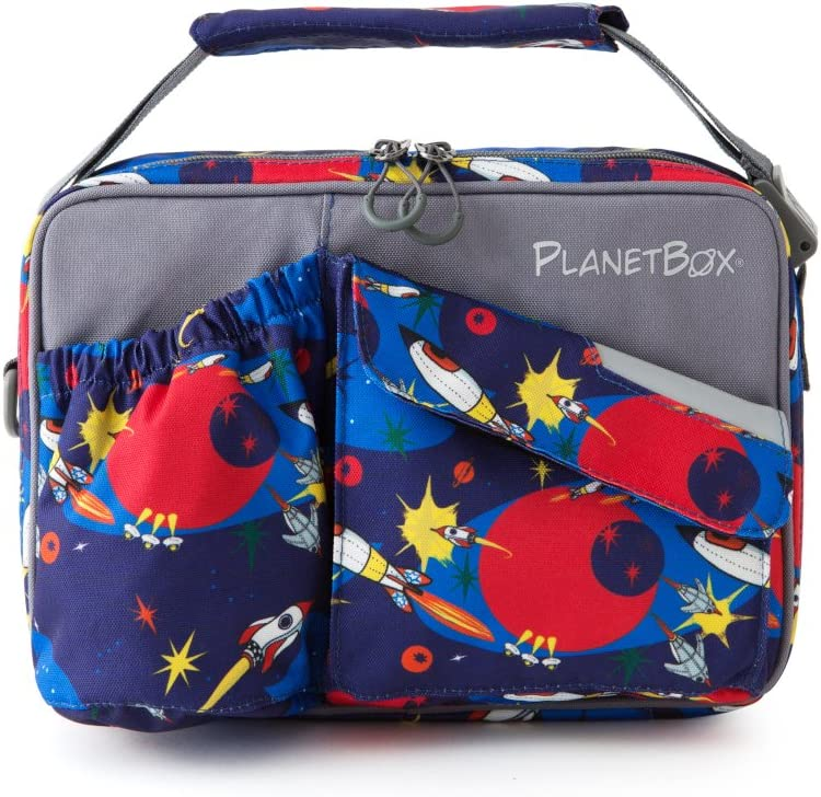 Rockets Carry Bag with Rockets Magnets PlanetBox ROVER Eco-Friendly Stainless Steel Bento Lunch Box with 5 Compartments for Adults and Kids