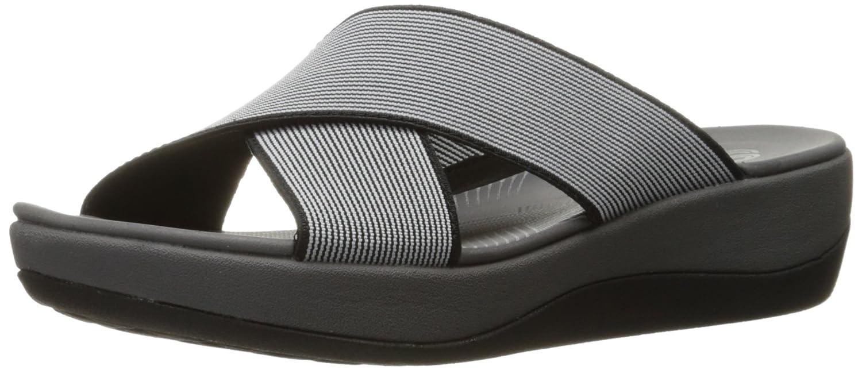 Black  White Elastic Clarks Women's Arla Elin Sandals
