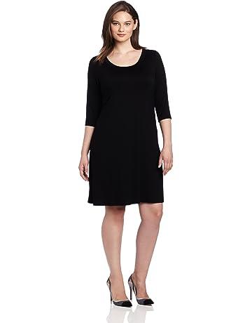dcd94301 Karen Kane Plus-Size Three-Quarter-Sleeve A-Line Dress