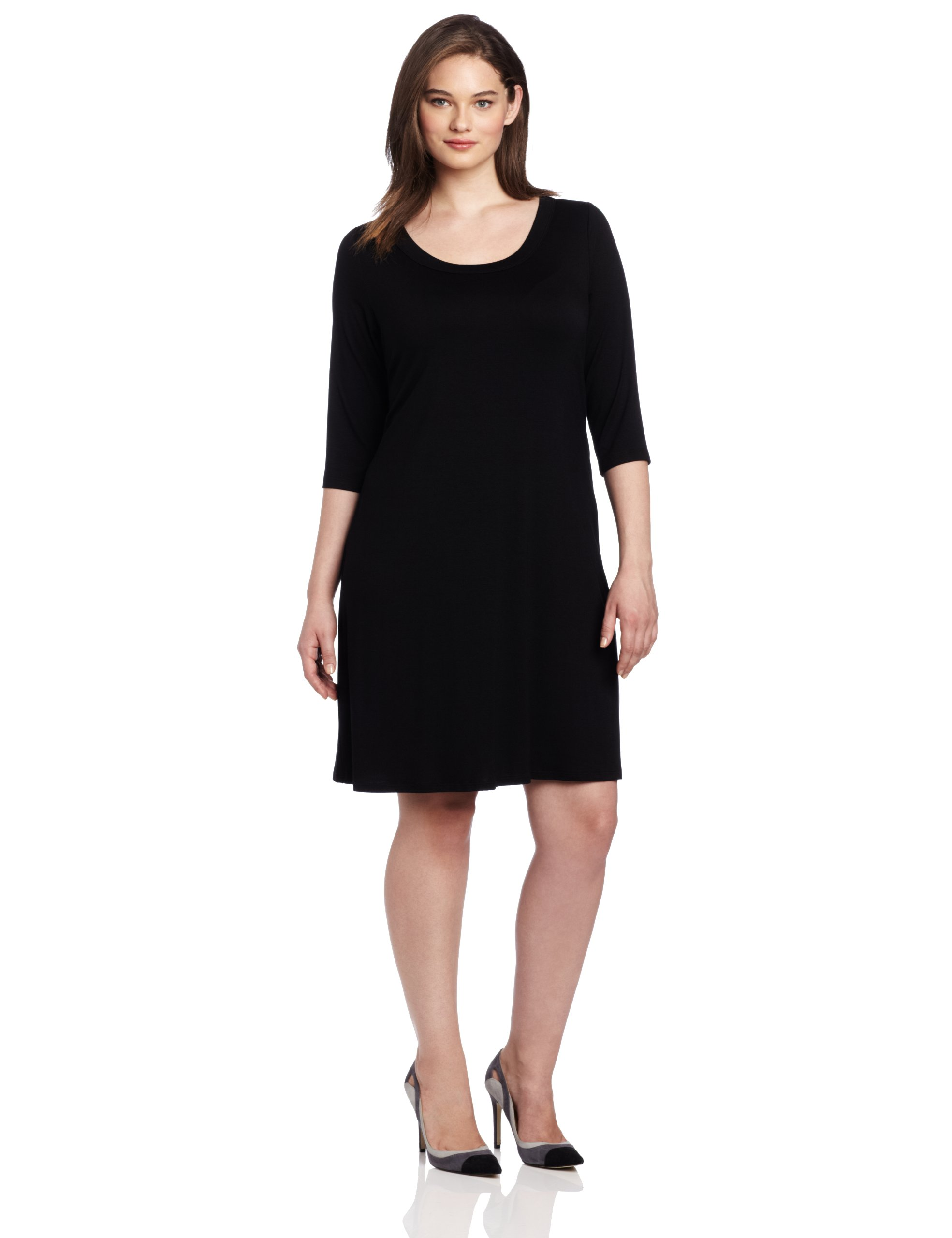 Karen Kane Plus-Size 3/4 Sleeve A-Line Dress, Black, 1X by Karen Kane (Image #1)