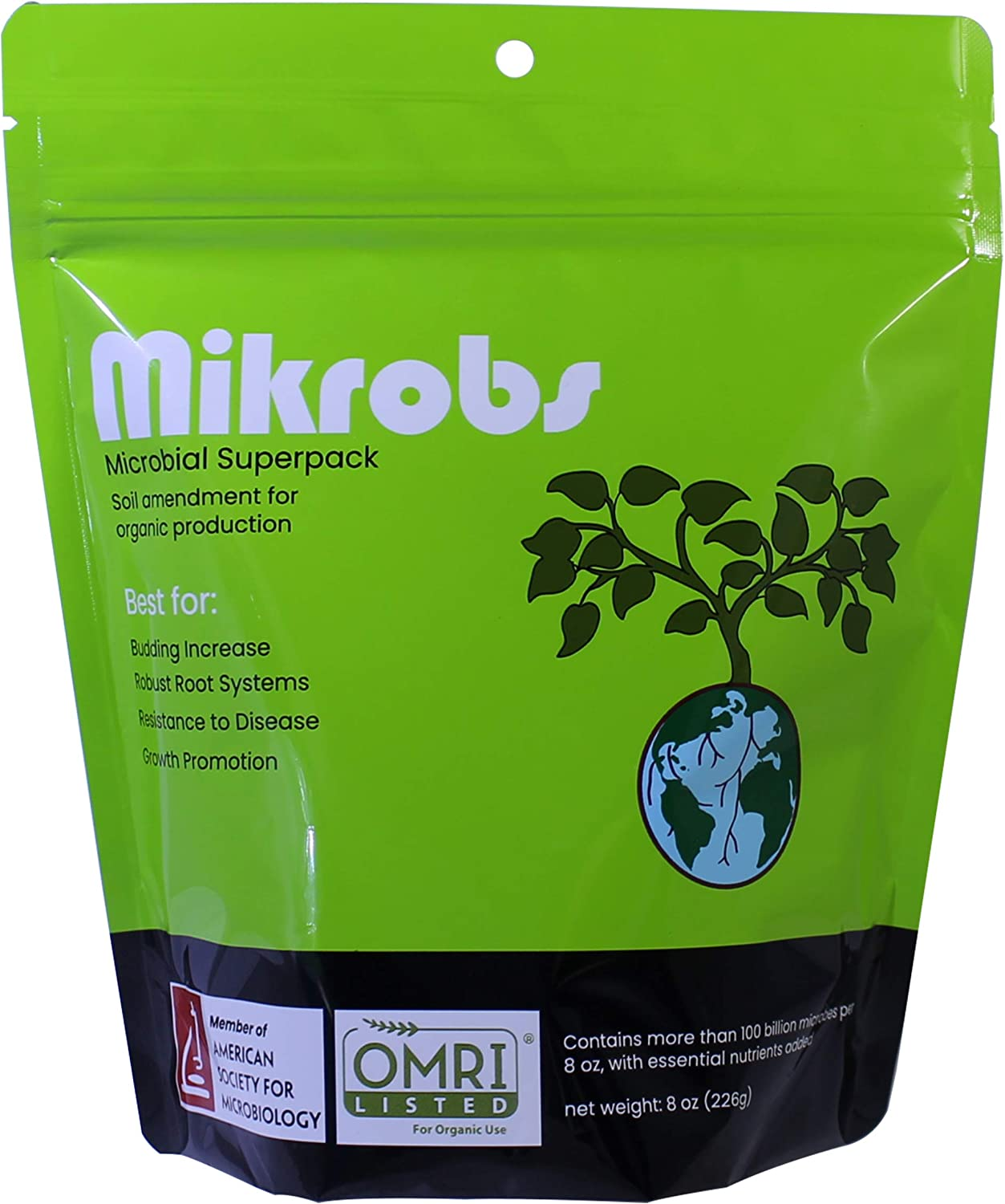 Mikrobs - Plant Growth Promoting Soil Microbes with Organic Plant Nutrients. Increase Crop and Flower Yield. Revitalize Plants (8 Oz)