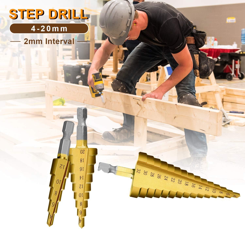 4-12 mm HSS Tige Hex Pagode Step Drill Bit Trou Coupeur Couper Outil pour le bois cuivre