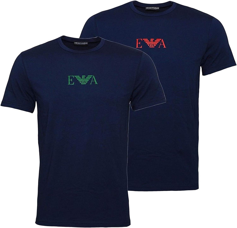 Emporio Armani Camiseta Interior, Pack de 2, para Hombre, con Logo, RIF 111267 8a715 27435 - XL - BLU-BLU: Amazon.es: Ropa y accesorios
