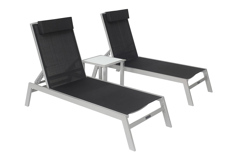 VILLANA 2er-Set Sonnenliegen, silber/schwarz, Alu/Textil, mit Beistelltisch 45 x 45 cm