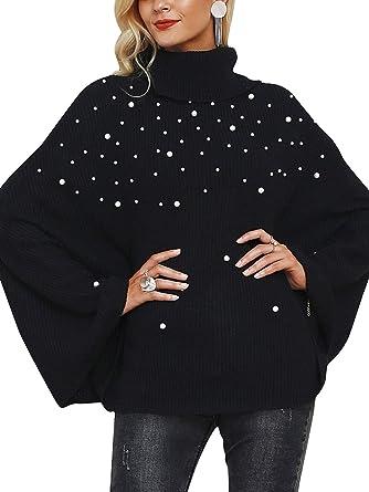 Missy Chilli Women s Turtleneck Beading Knit Cloak Pullover Oversized  Sweater Black 7a79b1f84