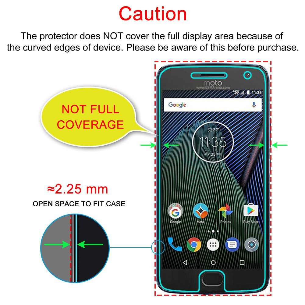 J&D Compatible for 3-Pack Moto G5 Plus Glass Screen Protector, [Tempered  Glass] [Not Full Coverage] Ballistic Glass Screen Protector for Motorola  Moto