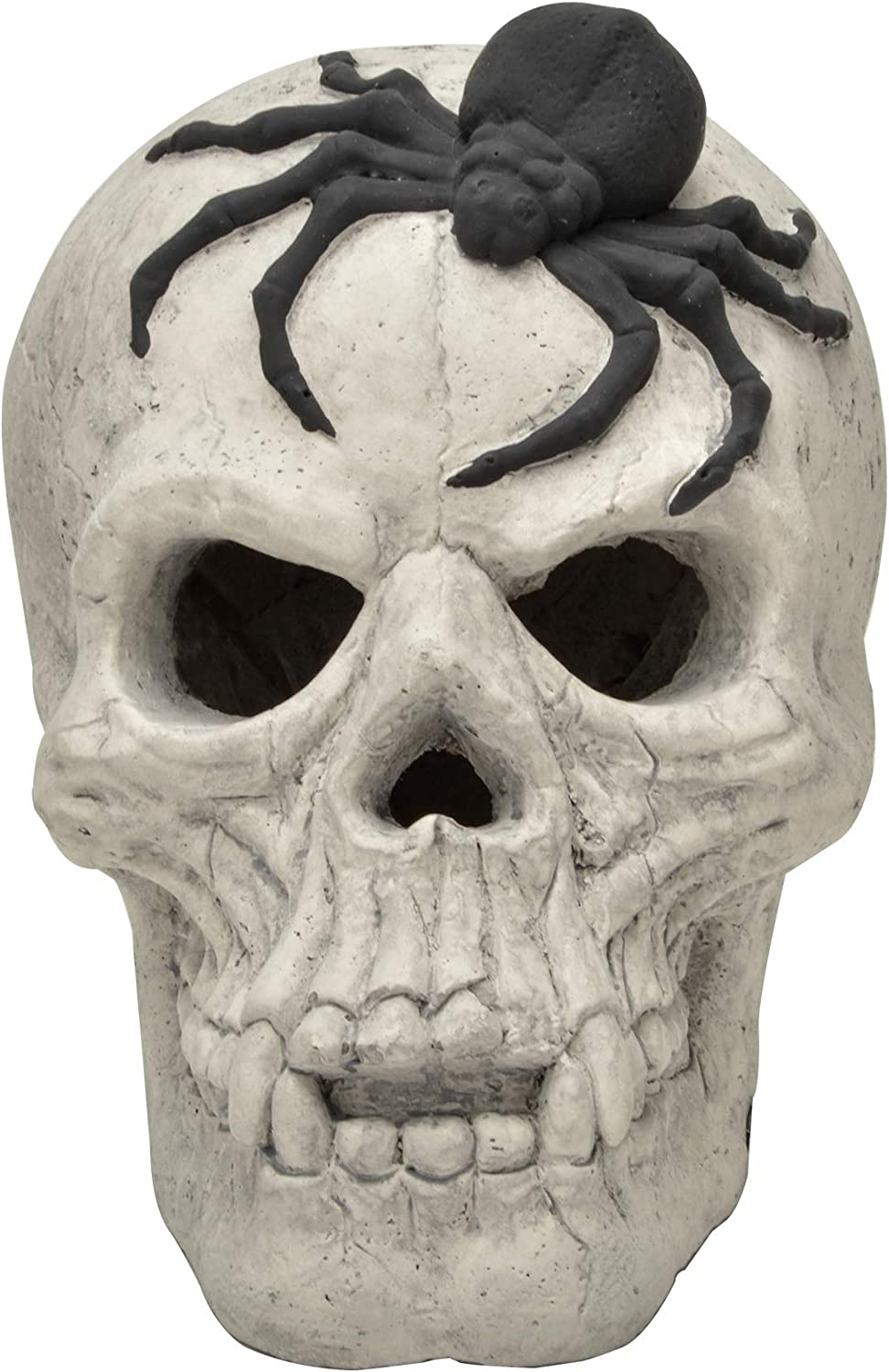 Stanbroil Fire Pits Imitated Human Skull with Black Spider Decoration for Indoors Outdoors Campfire, Fireplace, Halloween Party Decor, 1 Pack - Patent Pending