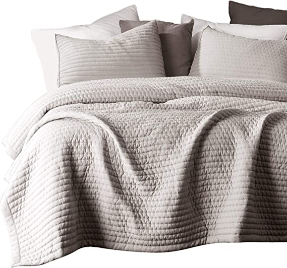 MIDWEST TAUPE CAMEL NENA SOLID QUILT BEDDING BEDSPREAD COVERLET PILLOW CASES SET