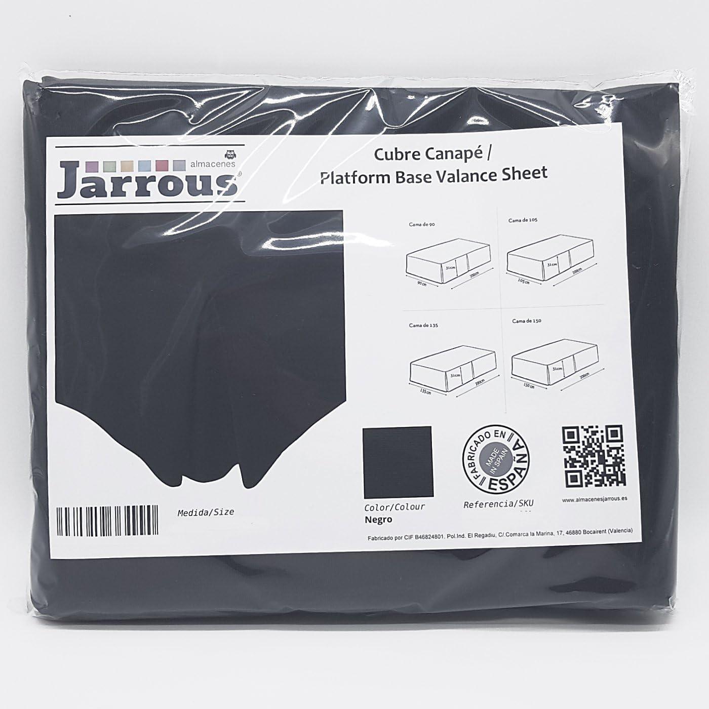 Jarrous Cubre Canapé Modelo Pierre, Color Negro, Medida para Cama de 105